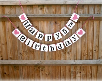 HAPPY BIRTHDAY Banner + Number/happy birthday bunting/ Happy Birthday Bunting/birthday party decoration/rustic