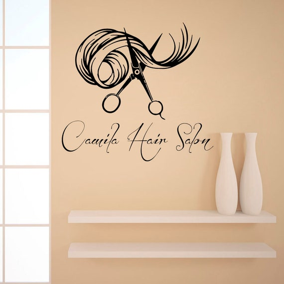 Custom name wall decals beauty hair salon decor logo lettering for Stickers salon design