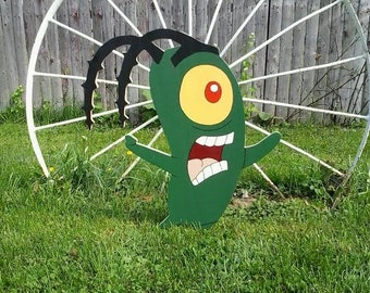 Plankton,Spongebob Square Pants,Outdoor Wood Yard Art Lawn Decoration