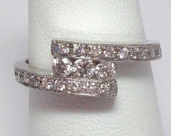 0.50CT Diamond Anniversary Ring Diamonds Wedding Band Right Hand Rings Art Deco Split Style Band Platinum 18K 14K White Yellow Rose Gold