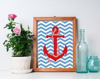 75% OFF SALE - Nautical Anchor Art - 8x10 Nursery Art, Nursery Decor, Nautical Decor, Nautical Nursery, Anchor Decor, Baby Boy