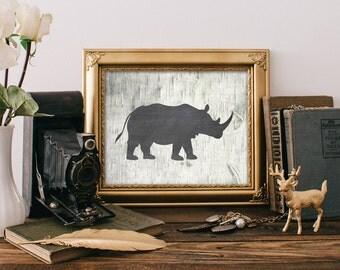 Rhino Print - 8x10 Printable Art, Rustic Decor, Rhinoceros Print, Wall Art, Rustic Home Decor, Hunting Decor, Safari Animal Art