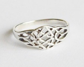 Vintage Sterling Silver Double Celtic Knot Band Size 8
