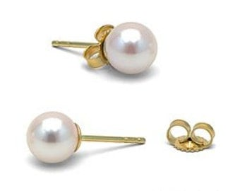 Earrings pearls of Akoya 6 - 6, 5 mm white