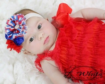 Fourth of July Headband, Red White Blue Headband,,4th of July headband, Toddler Headband, Patriotic, Hair Bows, Red Headband