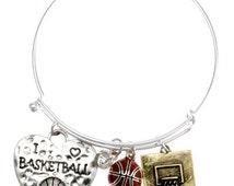 I Love Basketball Bangle Style Charm Bracelet