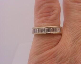 1.00 C.T.W. Emerald Cut Diamond Band White Gold Ring14K