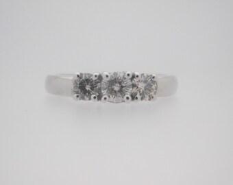 1.00 Carat Total Weight Three-Stone Round Cut Diamond Engagement Ring 14K