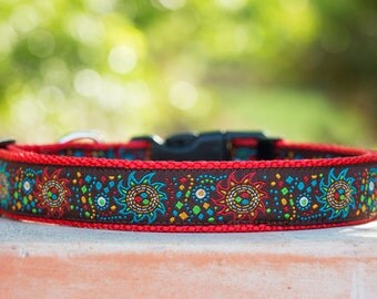 Celestial Dog Collar / Red Dog Collar / Stars & Sun