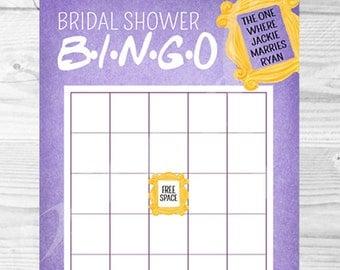 friends tv show bingo shower game bridal shower bingo baby shower bingo game