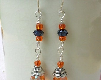 Black & Orange Long Dangle Earrings
