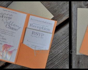 SET - Pocketfold Summer Wedding Invitations on Metallic Cardstock