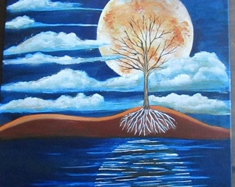Abstract Painting Modern Art Full Moon Over Water Painting 16 x 20 Acrylic on Stretched Canvas