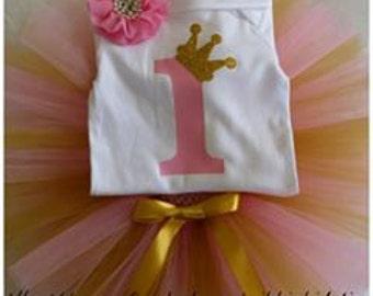 First Birthday tutu set, 1st birthday, Pink and Gold first Birthday, 1st Birthday tutu set, Princess tutu set, princess crown tutu set, can