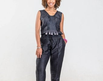 black silk pants with pockets, gathered waist and tassels, Free Shipping!