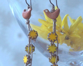 buttercup earrings, chic buttercup earrings, handmade buttercup earrings, BIRD in the BUTTERCUPS, hypoallergenic niobium earwires