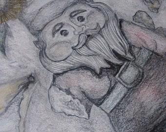"original artwork, OOAK, graphite & colored pencil ""Gnome Man's Land"""