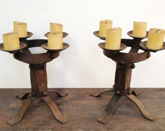Pair of Wrought Iron Candle Holder with 4 Arms - Medieval Style