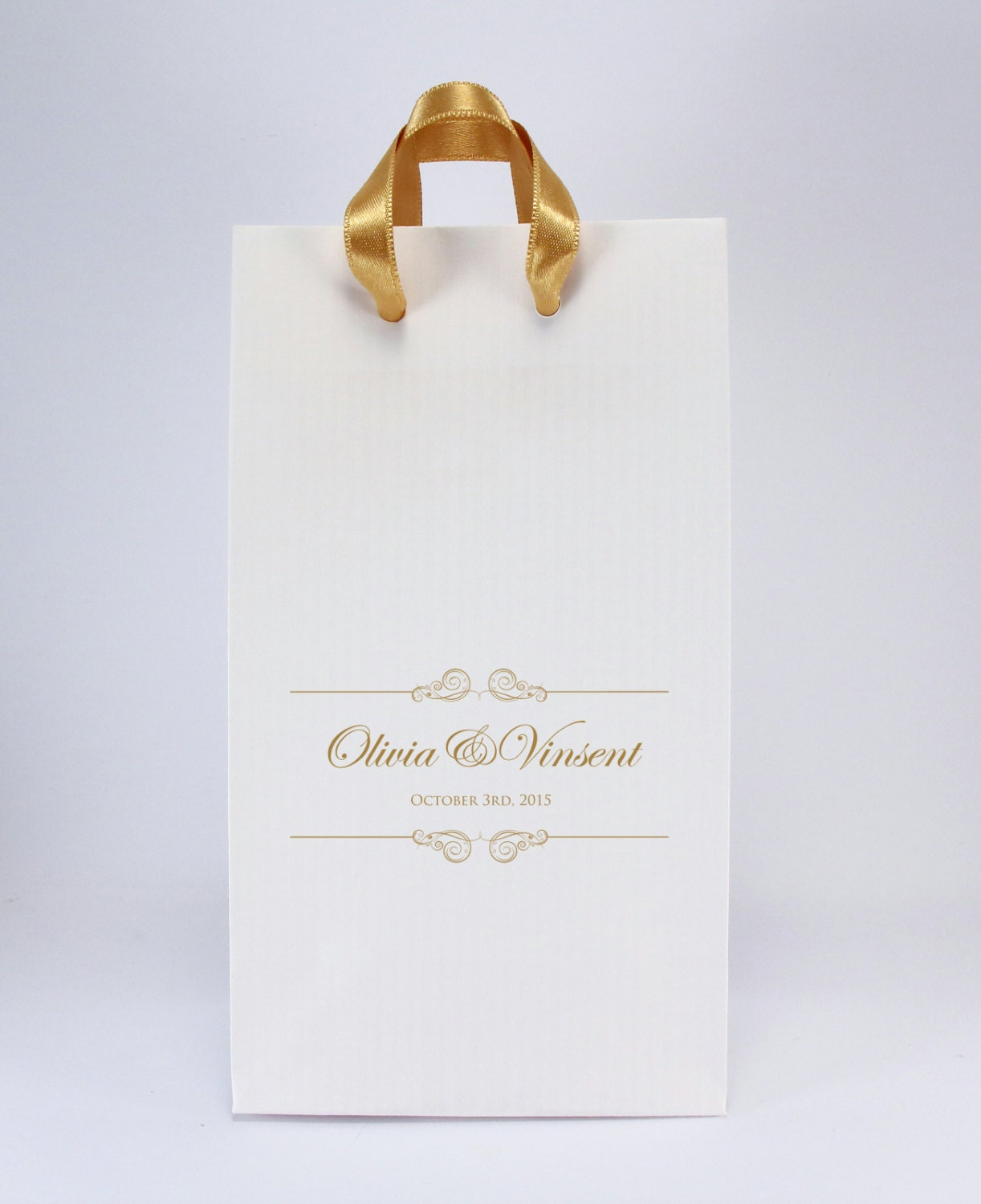 Wedding Favor Bags With Ribbon : Personalized Wedding Favor Bags with Satin Ribbon Handles Pk