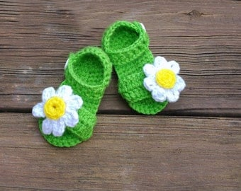 Flower Green Sandals,Crochet Baby Sandals,Crochet Baby Shoes,Baby Sandals,Baby Girl Sandals,Baby Crochet Shoes,Baby Crochet Sandals