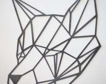 Steel Geometric Fox Wall Art