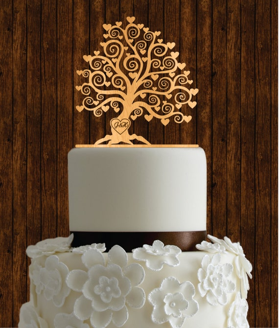 wooden wedding cake toppers cherry wood cake topper tree cake topper rustic cake 1488