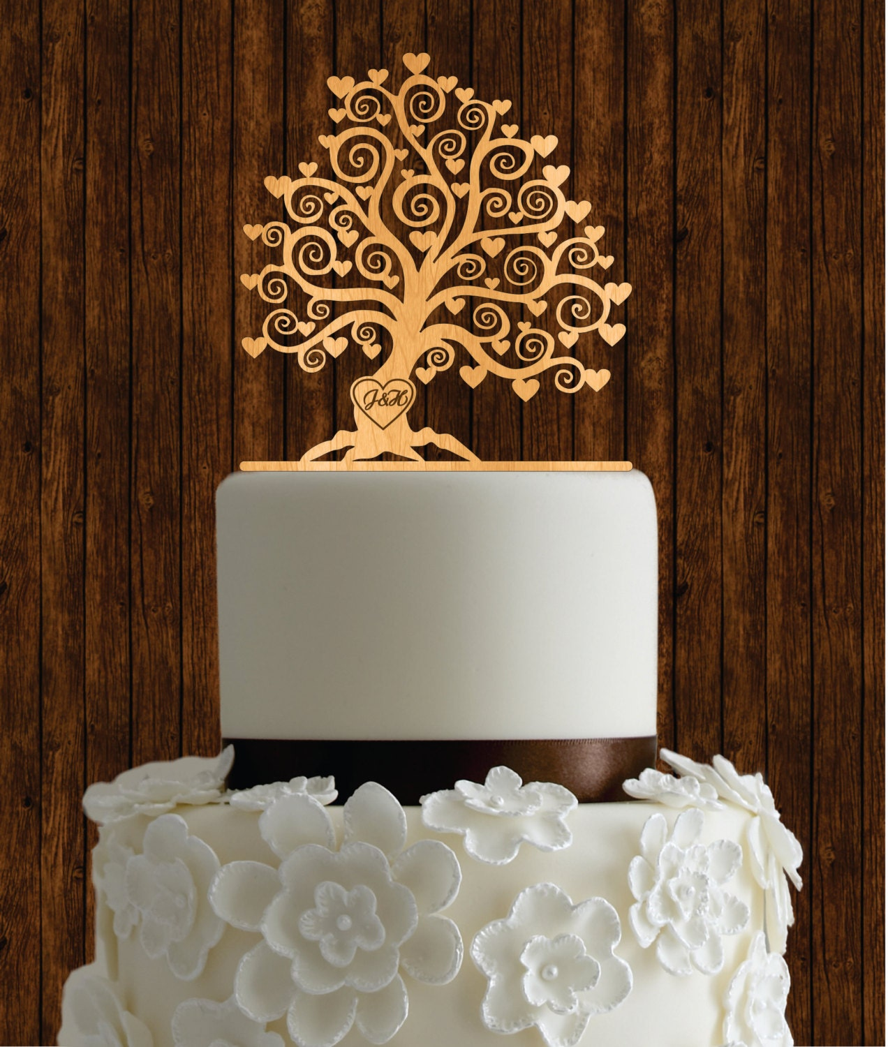 Make Your Own Wedding Topper: Cherry Wood Cake Topper / Tree Cake Topper / Rustic Cake