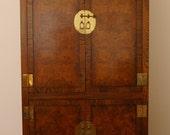 SALE Vintage Chinoiserie Burl Front Armoire/ Cabinet