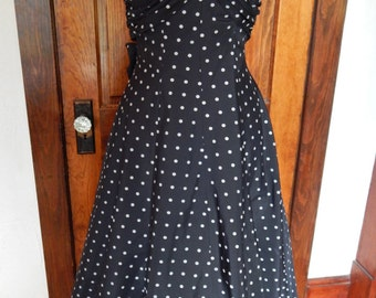Black 1950's formal dress with white polka dots