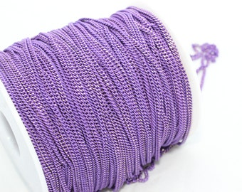 9.9 Feet Enamel Chains 2x2,5mm Brass Soldered Chains - Enamel Purple Enamel Chains - Faceted Chains , BXB79-1