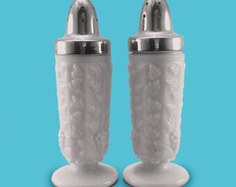 Westmoreland Paneled Grape Milk Glass Salt and Pepper Shakers