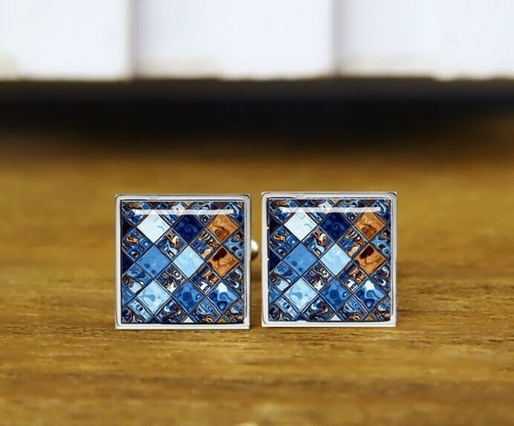 Blue Mosaic Cufflinks,  Art Rectangular Cufflinks, personalized cufflinks, custom wedding cufflinks, round, square cufflinks, tie clips, set