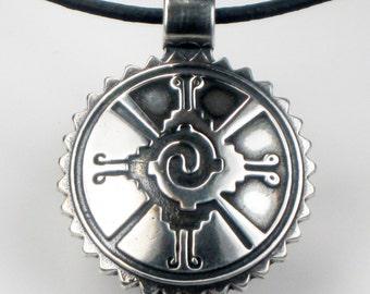 SALE 20% OFF - Mayan Hunab Ku Shaman Tribal Sterlng Silver Pendant - Keyring - Symbolic Celestial Universe Mayan Sterling Silver Pendant
