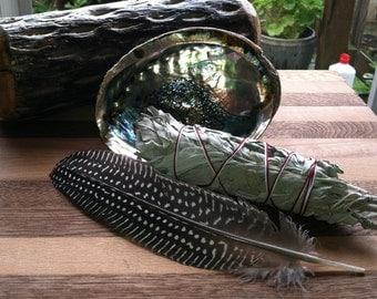 Smudge Kit, Organic White Sage, Cleansing Kit, Feather, Homemade Sage Bundles,Smudge Sticks, Space Clearing kit, Smudging rituals