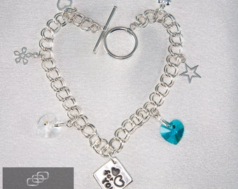 "Sterling Silver Swarovski Crystal ""For You"" Charm Bracelet, Mothers Day, Romance,"