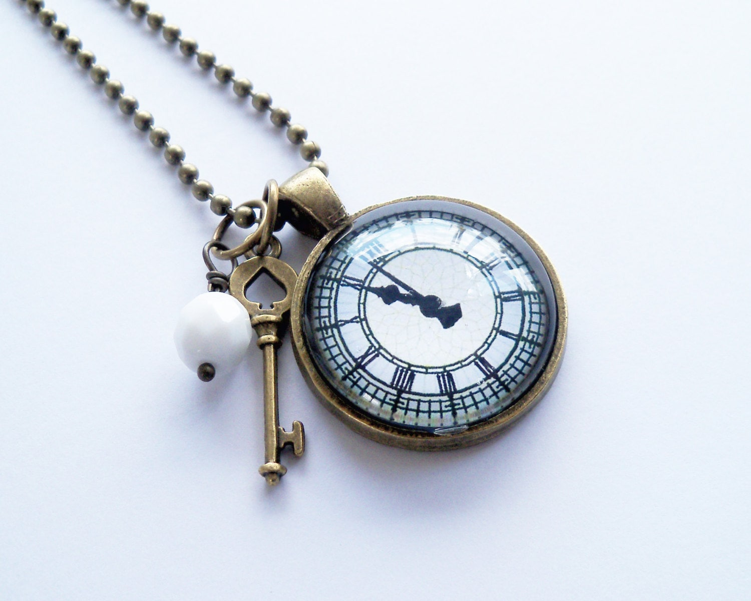 Clock Pendant Necklace Roman Numerals You Choose Bead And