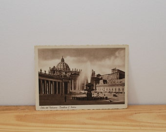 Vintage Rome postcard of St Peters Square and Basilica in the Vatican City, Italy 1930s