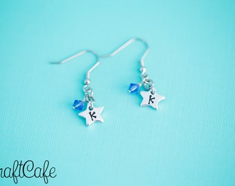 Hand Stamped Star Initial Earrings - Choose your color! - Hand Stamped Jewelry