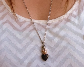 Stacked Heart Cremation Necklace Heart Ashes Necklace Silver Gold Black Heart Urn Necklace Cremation Jewelry Key Chain Option 2122