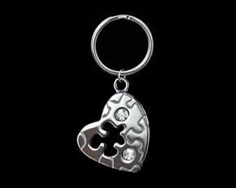 Autism Awareness Silver Puzzle Piece Charm Keychain / Keyring Jigsaw Pendant #1-002