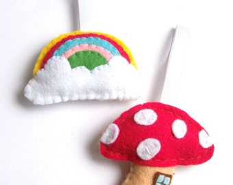 Felt Rainbow & Toadstool House, Fairytale Decor, Rainbow Decorations, Felt Ornaments, Twig Tree Hanging Ornaments