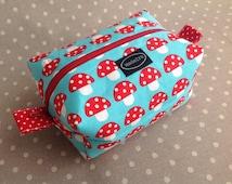 Small blue mushroom toadstool zipper boxy bag woodland zippered pouch fabric storage bag cute kawaii toiletry bag make up pouch
