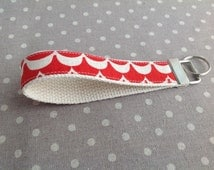 Red and white wave pattern key fob modern graphic japanese linen fabric keychain loop for keys wristlet holder for keys small gift idea