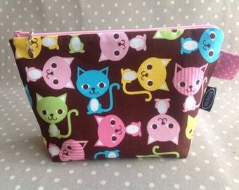 Pink and brown cute cats zipper bag kawaii zippered pouch small gift for cat lover friend knitting crochet project bag make up pouch