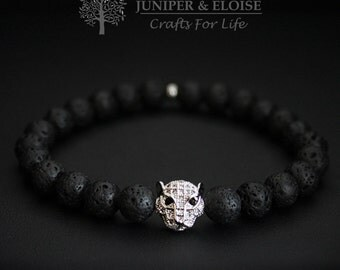 Tiger Bracelet, Lava bracelet, Womens Bracelet, 8mm Black Lava and Silver Plated Tiger, Stretch bracelet for men, Mothers Day Gift