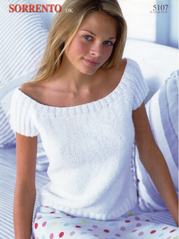 Womens Knitting Pattern Womens Top Short Sleeve Sweater