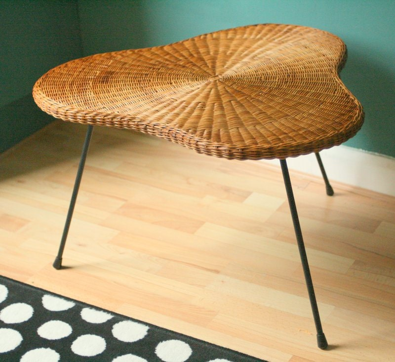 1950's Mid Century Wicker Coffee Table With Tripod Legs