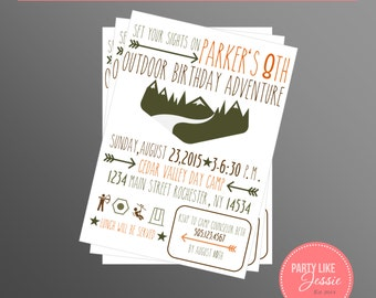 PRINTABLE Outdoor Adventure Birthday Invitation (Customizable)