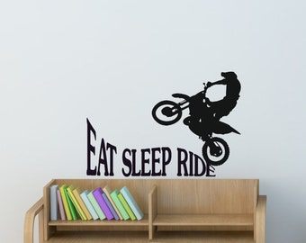 Dirtbike Sport Decal Boys Bedroom Sticker Girls Room Quote Decor Wall Words Decal Motocross Motorcycle Wall Decal 23 x 33 inches