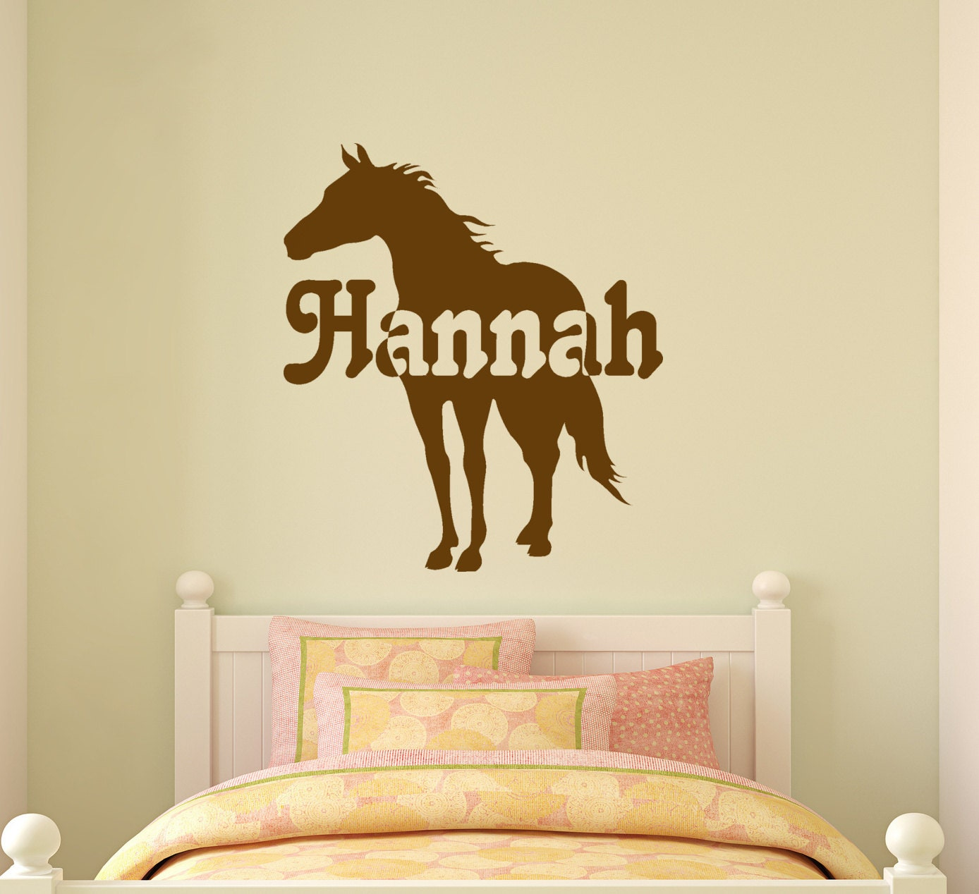 Horse wall decal girls name horse sticker childs for Horse wall decals
